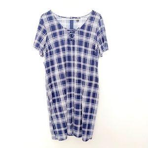 Torrid 2 Plaid Short Sleeve Pullover Shirt Dress